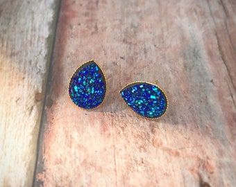 Deep Blue Druzy Teardrop Studs With Gold Backs