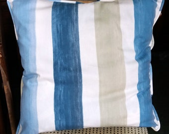 "Blue Large Stripe 22 Inch Square Cushion Cover. ""Shades of Sand and Sea"". Deckchair Cushion, Outdoor Cushion, Summerhouse Cushion"