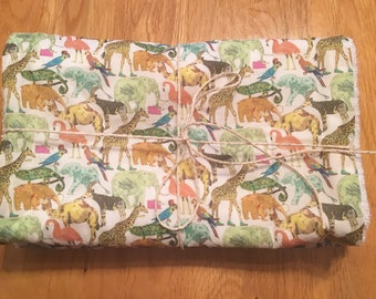Two piece set of handmade 'Queue For The Zoo' burp cloths