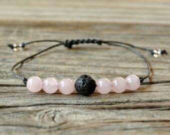 Diffuser Bracelet, Rose Quartz Bracelet, Beaded Diffuser, Essential Oils, Oil Diffuser, Yoga Bracelet, Meditation Bracelet, Healing Bracelet
