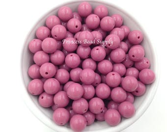 12mm Mauve Pink Solid Beads, Set of 20 or 50, 12mm Mauve Pink Beads, Mini Chunky Beads,  12mm Mini Chunky Beads,  Chunky Bubble Gum Beads