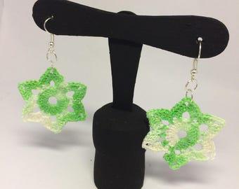 Flower Earrings Crochet Green fluo-Floral