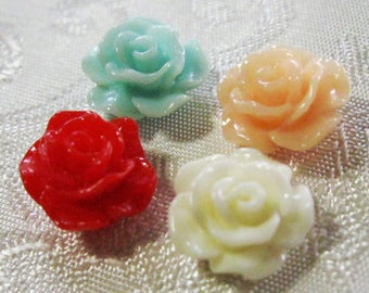 CLEARANCE SALE Drilled Resin Ruffled Rose Flower Beads with Hole Small Choose Your Colors 10mm 924