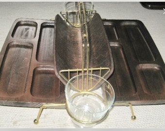Folding Snack and Drinks Caddy Mid-Century Modern wood, glass and metal cheese tray