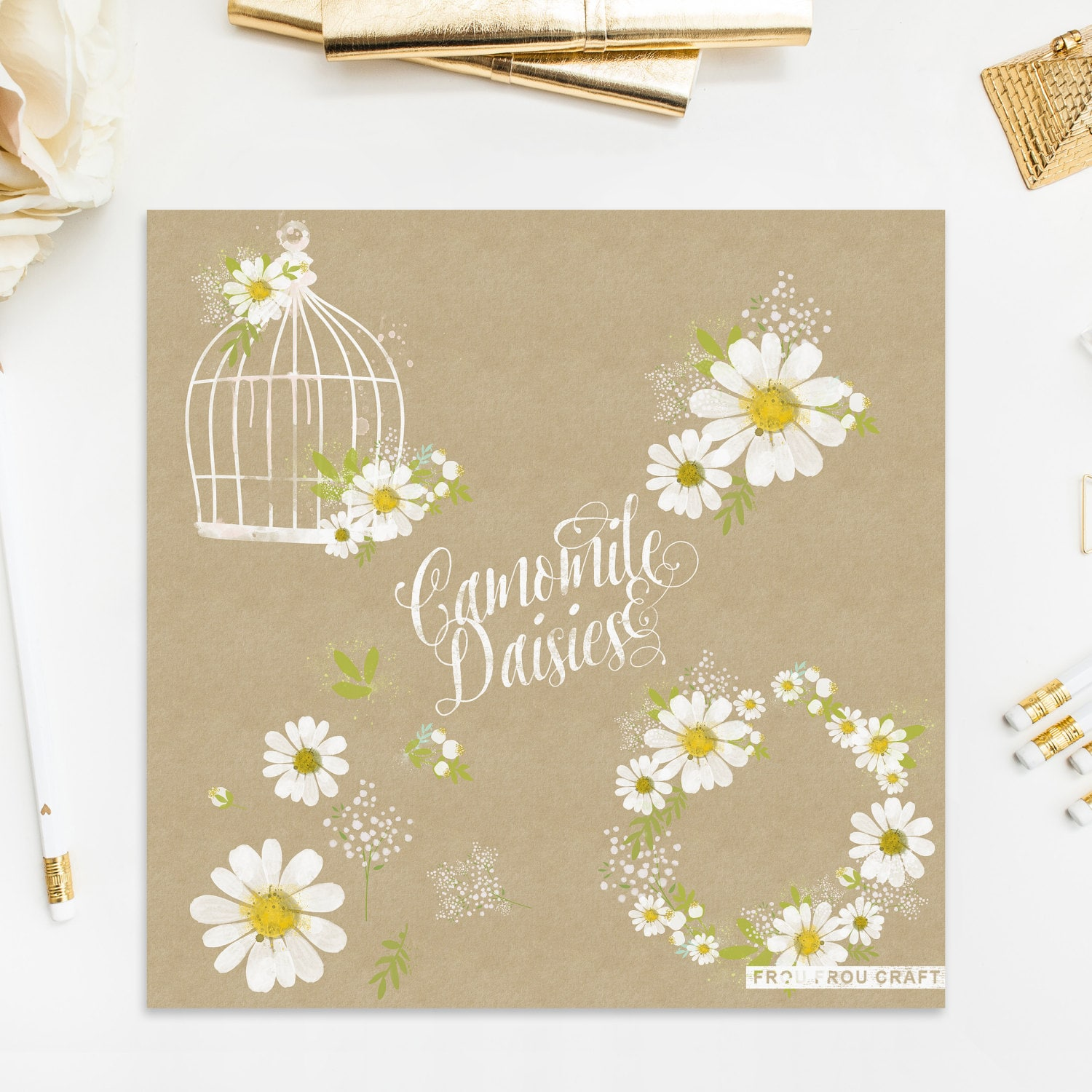 Camomile ClipArt Intant Download Daisies Birds Cage Watercolor ...
