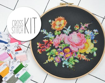 BOUQUET OF FLOWERS - victorian cross stitch kit floral 25 colors - complete craft kit with supplies, counted embroidery pattern instructions