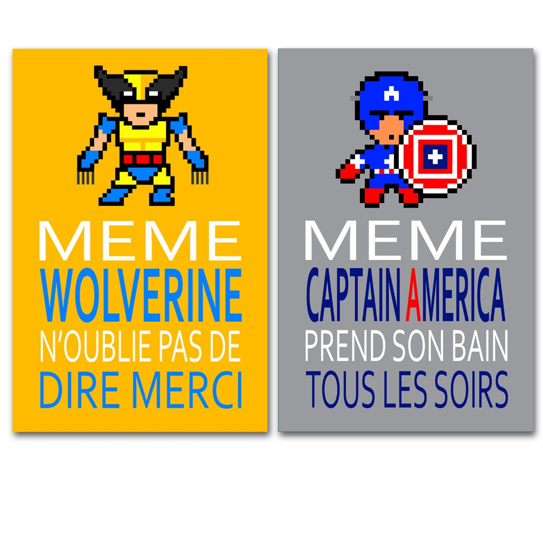 poster with wolverine and Captain America humour children