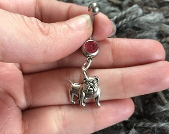 Bulldog Dog Custom Belly Ring, gift for Dog Lover, Bulldog Breed, Customized Navel Barbell, 14g Belly Ring, Navel Bar, Body Jewelry