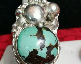 Sterling Silver Ring With Rare Bisbee Turquoise
