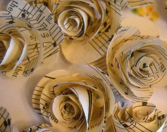 vintage music paper rosettes-set of 20