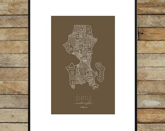 Hand drawn Seattle Neighborhood Map - original silkscreen print (Craft with White ink) 11x17