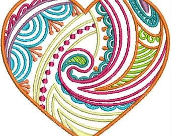 Embroidered Huck Towel - Mehndi Heart