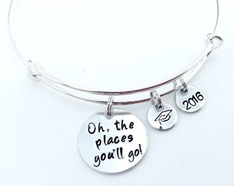 Oh, the places you'll go Bangle Bracelet with hand stamped grad cap and hand stamped 2018 charms, Graduation Bracelet, Graduation Bangle