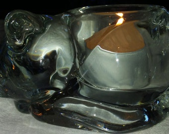 Sleeping cat votive candle holder, clear heavyweight glass