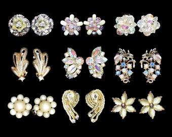 Mid Century Earrings Lot 9 Pair Clip and Screw Back Rhinestone Beaded Enameled