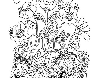 Happy Hour, 1 Adult Coloring Book Page, Printable Instant Download. Valentine's