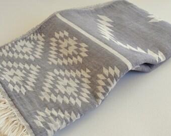 Turkish Towel Rug pattern Peshtemal towel Cotton Peshtemal Grey Towel soft