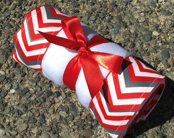 Burp Cloth / Changing Pad: Red, White and Gray Chevrons, Personalization Available