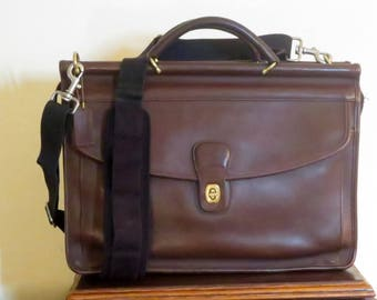 Etsy BDay Sale Coach Lenox Brief In Mahogany Leather Style No. 5213- Made In United States -VGC- Replacement Strap