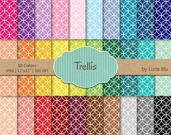 """Trellis Digital Paper pack: """"Rainbow Trellis"""" digital paper bundle, Trellis scrapbook paper, set of 30, commercial use, mega pack"""