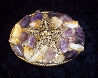 Beautiful Purple and Topaz Stone Antique Bronze Belt Buckle