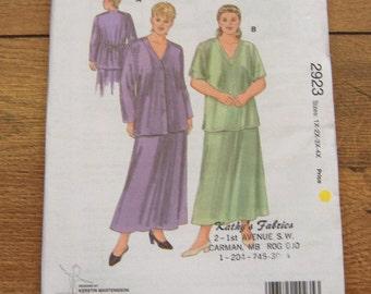 vintage 1990 kwik sew pattern 2923 misses skirt and tops plus sz 1X-4X  uncut
