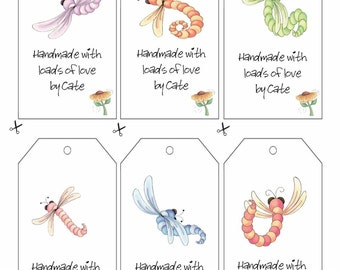Dragonflies Double Sided Gift Tags - PDF FILE ONLY