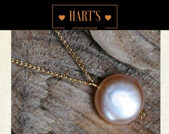 14K Gold Coin Pearl Pendant Necklace