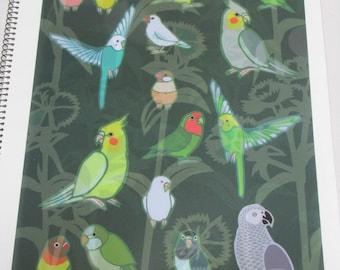 Yukie Sato A4 File Folder  Organizer Java Sparrow, Budgie Budgerigar Cockatiel Monk Parakeet, African Gray Parrot Lovebird