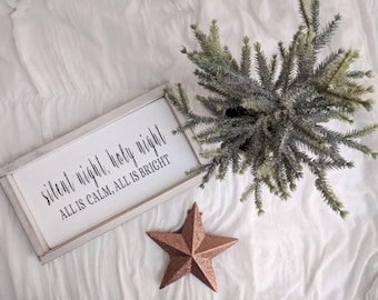 """Farmhouse inspired 'silent night, holy night all is calm, all is bright"""" framed wood sign"""