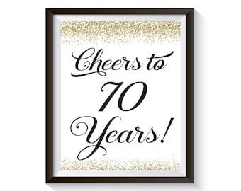 Cheers to 70 Years, 70th Birthday Sign, 70th Anniversary Gift, Gold Birthday Party Decorations, 70th Birthday Card, Funny Birthday Decor