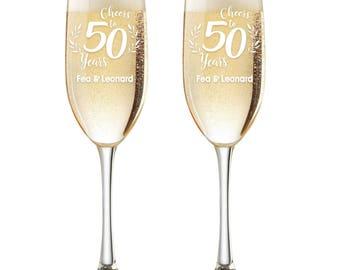 Personalized Wedding Flutes,  2 Toasting Flutes, Engraved Anniversary Flute, 50th Wedding Anniversary Flutes,  Toasting Champagne Flutes