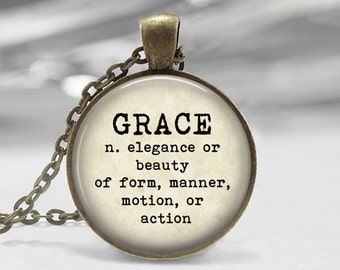 Grace Dictionary Definition Necklace or Key Chain Dictionary Jewelry Glass Dome Pendant with chain