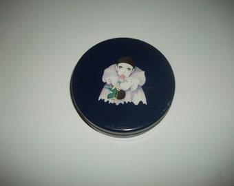 Vintage Pierrot design round tin  Pierrot love