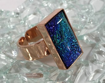 fused glass adjustable copper ring with a deeper blue dichroic sparkle mix