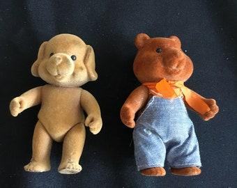 Retro Flocked Figurines Bear & Dog