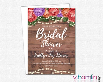 DIY Wedding Shower Invitation - PRINTABLE Bridal Shower Invitations - Bridal Party Invitations   Wood Roses & Sparkles