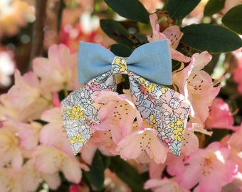 Made with Liberty Oversized Sailor Bow | Linen Hair Bow | Floral Bows | Nylon Headband | Clip | Children's Hair Accessories