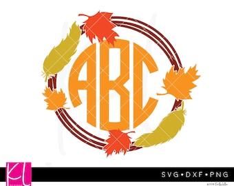 Leave Wreath svg, Wreath Monogram svg, Fall Monogram svg, Autumn Monogram svg, Monogram Frame svg, Leaf Circle Monogram svg, Leaves svg