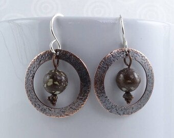 Copper firebrick and copper earrings with sterling silver earwires E1099
