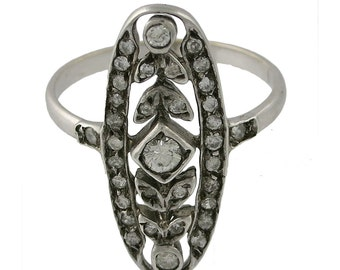 Edwardian Platinum on 15K Gold Diamond Filigree Ring