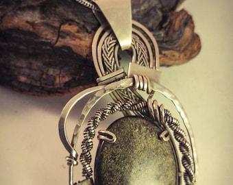Golden Sheen Obsidian Wire Wrapped Filigrana Pendant, wire wrapped pendant , Obsidian Pendant