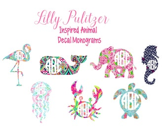 Lilly Pulitzer Inspired Animal Monogram Decal-Preppy Monogram