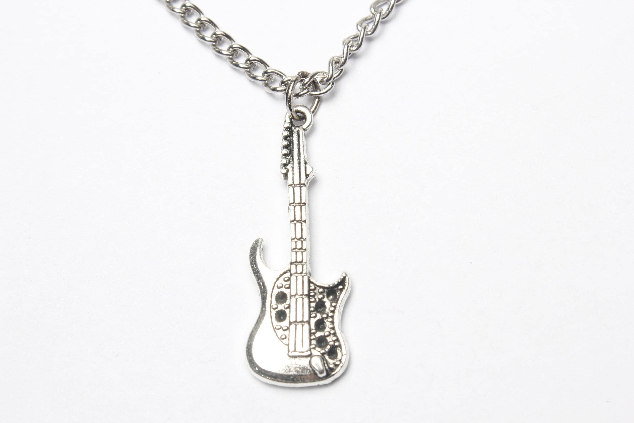 approx pendant includes package l inch black steel color w necklace silvery x guitar t and stainless size itm cm sliver