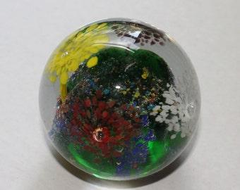 Hand Blown Glass Art Paperweight- Vintage - Collectibles - Millefiori Design - Flowers - Multi Colors - Glass Art