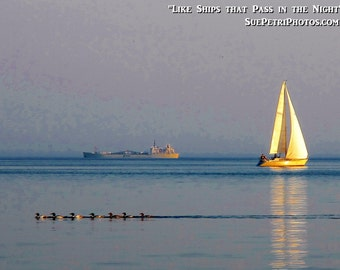 Nautical Photography, Lake Erie Photos, Sailing Photos, Like 2 ships that pass in the night, Nickle Beach Photos, Port Colborne Photography