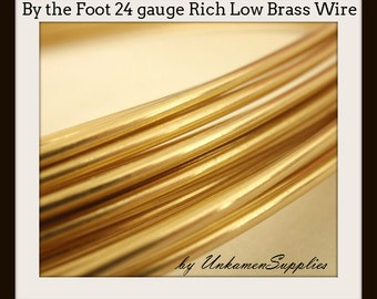 By the Foot 24 gauge Rich Low Brass Wire - Solid Raw Metal - Dead Soft -  100% Guarantee