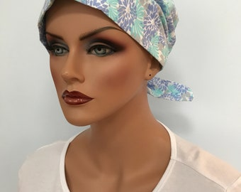 Sandra Women's Surgical Scrub Cap, Cancer Hat, Chemo Head Scarf, Alopecia Head Wrap, Headwear, Cancer Gift, Hair Loss Blue Flowers
