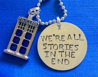 Doctor Who tardis we're all stories in the end necklace