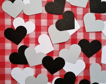"Hearts, 1"" ~ Black, White, and Gray Hearts Valentine Confetti Mix, Color on Both Sides, Baby Shower, Wedding, Flower Girl Toss"